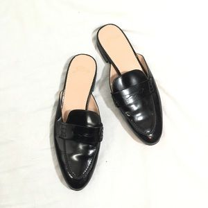 J Crew Patent Leather Penny Loafer Mules